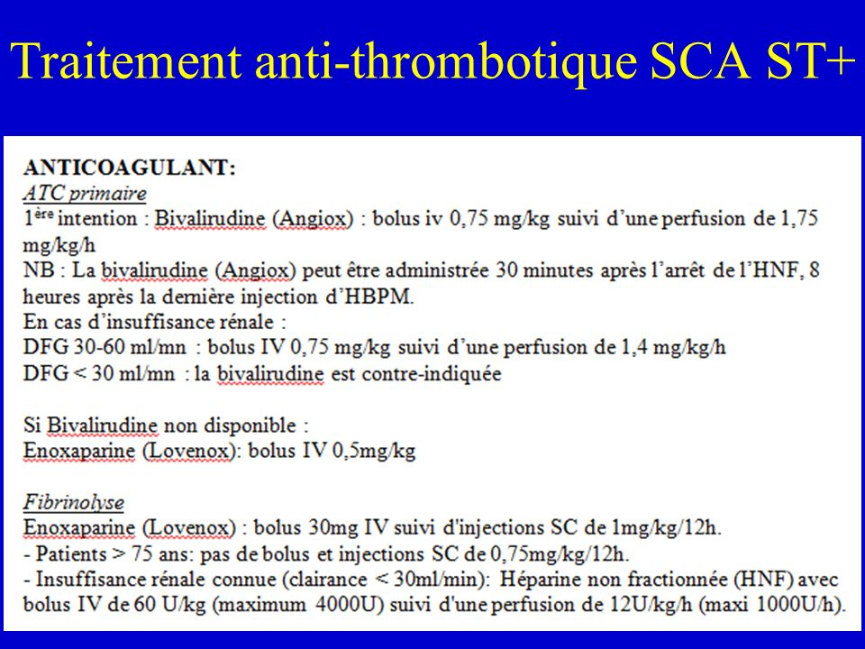 Traitement anti-thrombotique SCA ST+