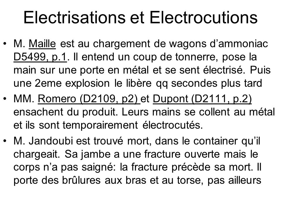 Electrisations et Electrocutions
