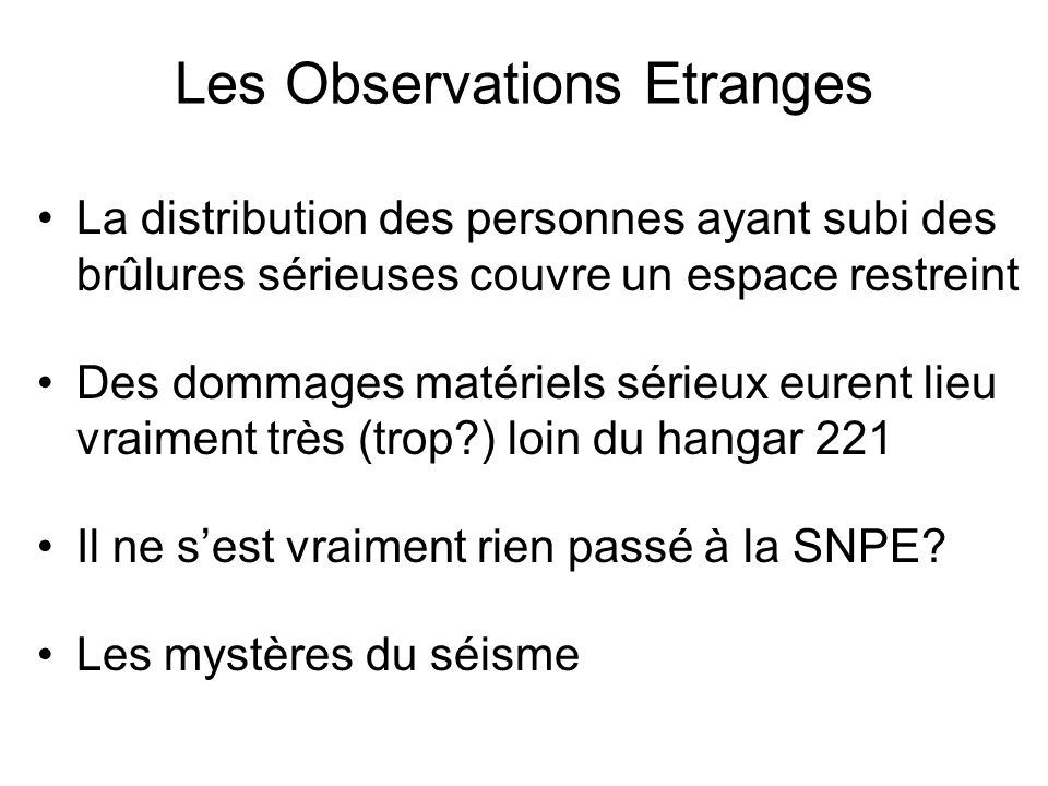 Les Observations Etranges