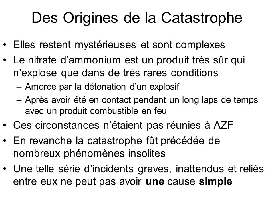 Des Origines de la Catastrophe