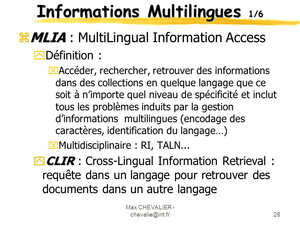 Informations Multilingues 1/6