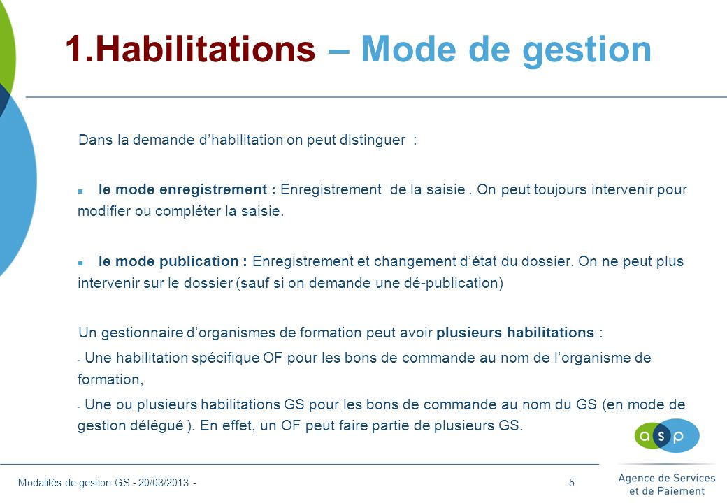 1.Habilitations – Mode de gestion