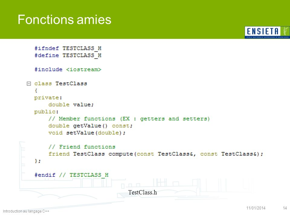 Fonctions amies TestClass.h 26/03/2017