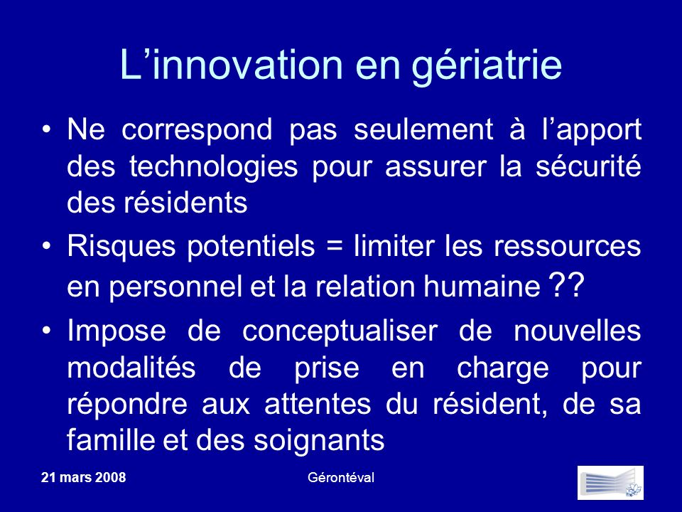 L'innovation en gériatrie
