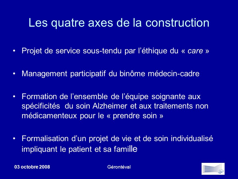 Les quatre axes de la construction