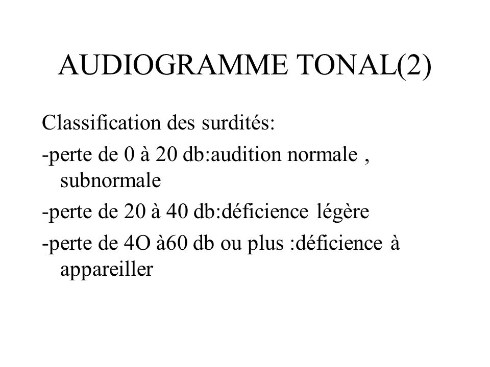 AUDIOGRAMME TONAL(2) Classification des surdités: