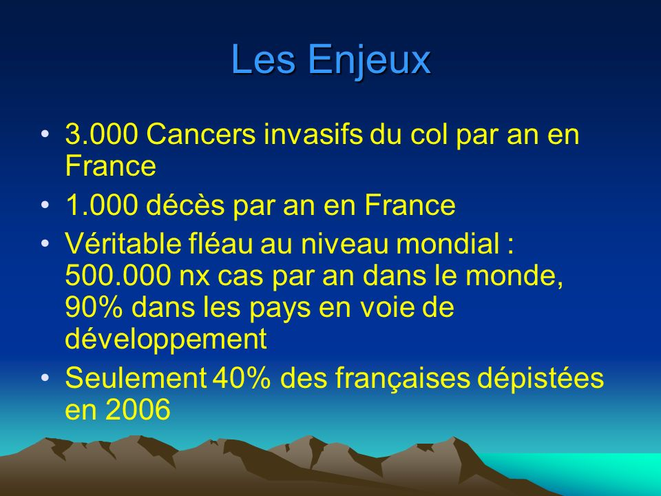 Les Enjeux 3.000 Cancers invasifs du col par an en France