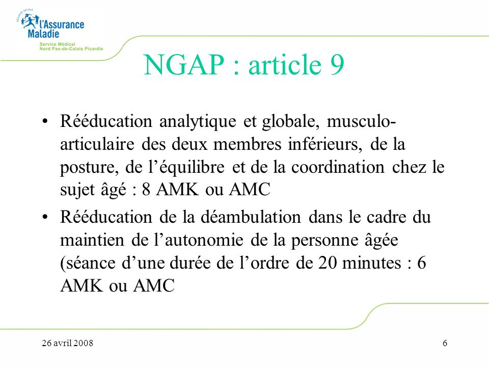 NGAP : article 9
