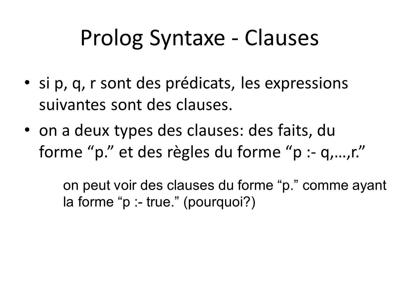 Prolog Syntaxe - Clauses