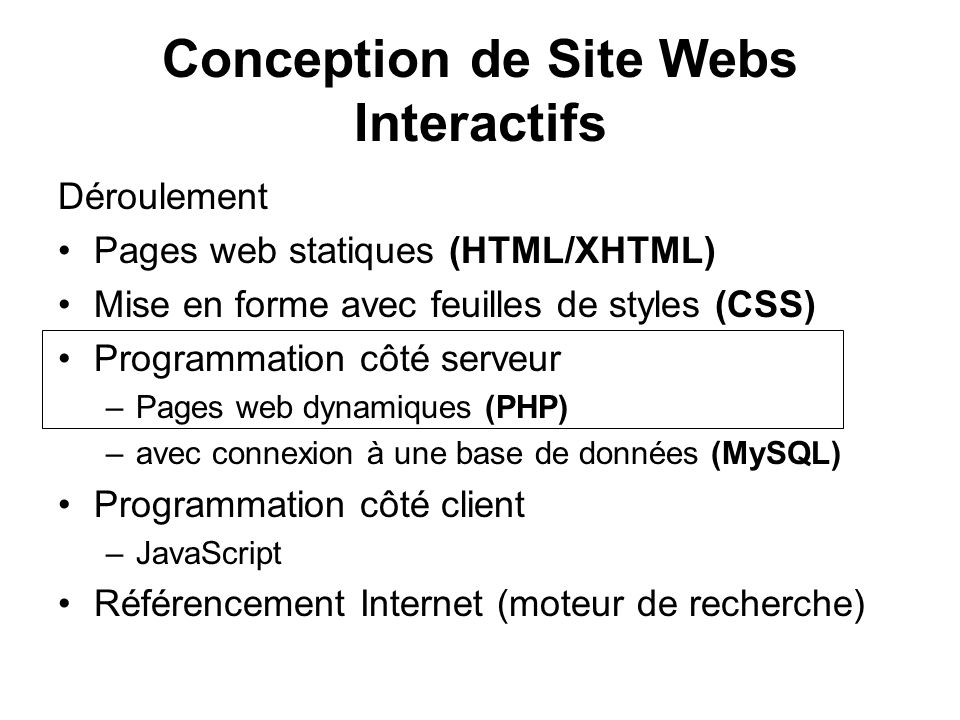 Conception de Site Webs Interactifs