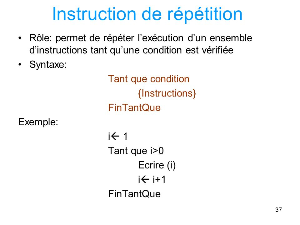 Instruction de répétition