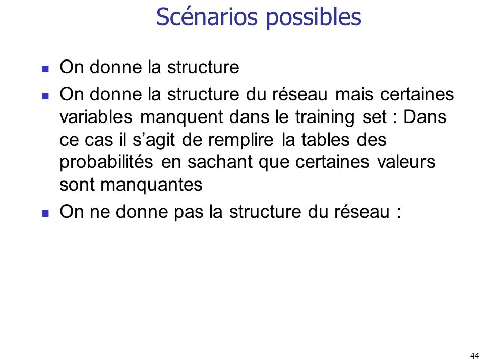Scénarios possibles On donne la structure