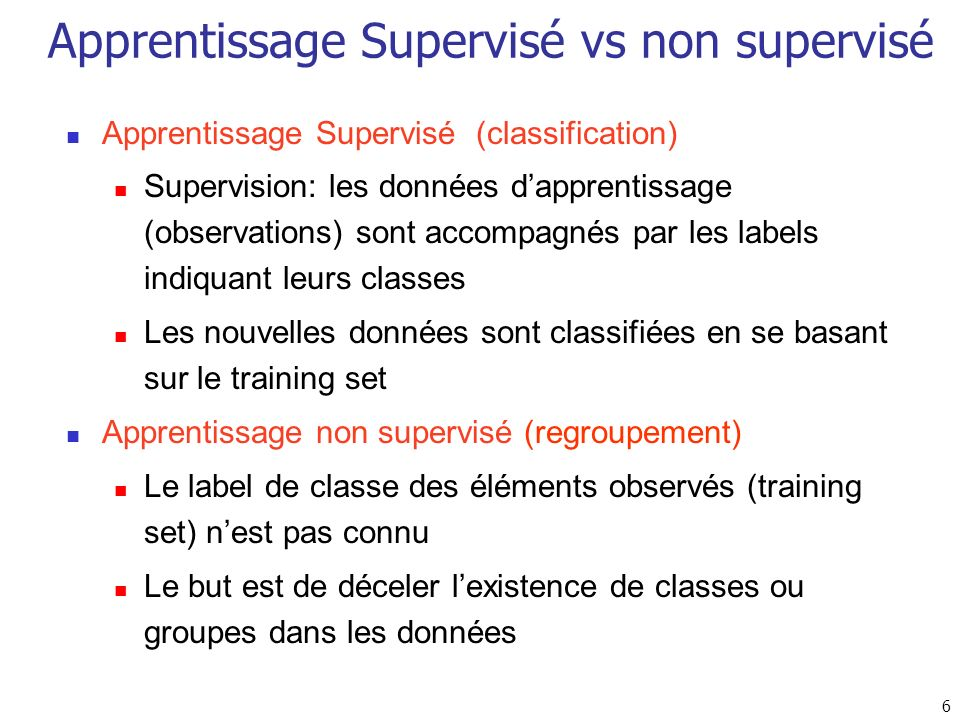 Apprentissage Supervisé vs non supervisé