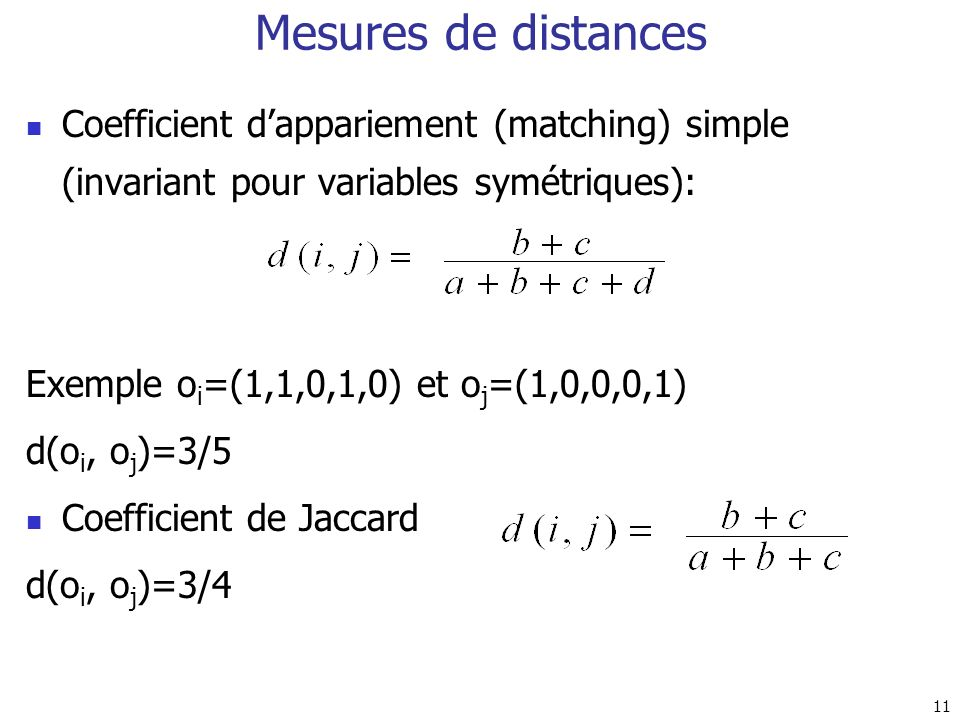 Mesures de distances Coefficient d'appariement (matching) simple (invariant pour variables symétriques):