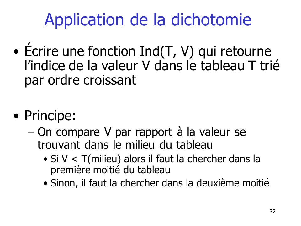 Application de la dichotomie