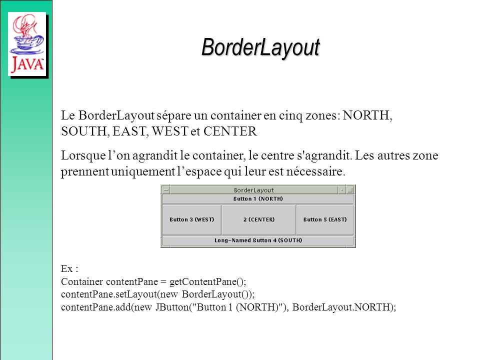 BorderLayout Le BorderLayout sépare un container en cinq zones: NORTH, SOUTH, EAST, WEST et CENTER.