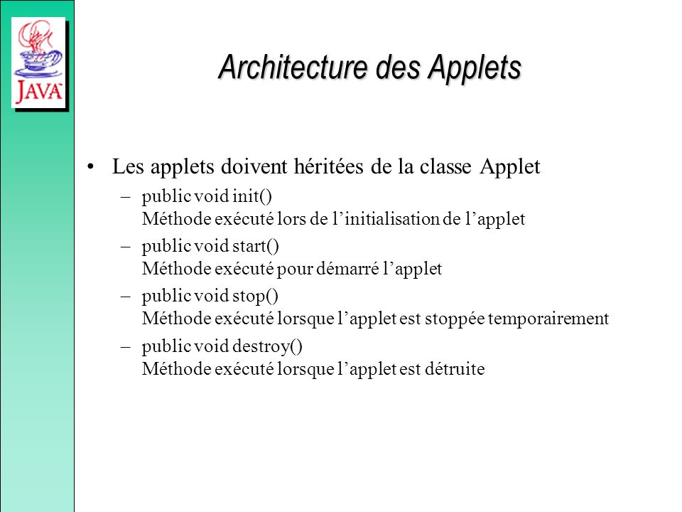 Architecture des Applets