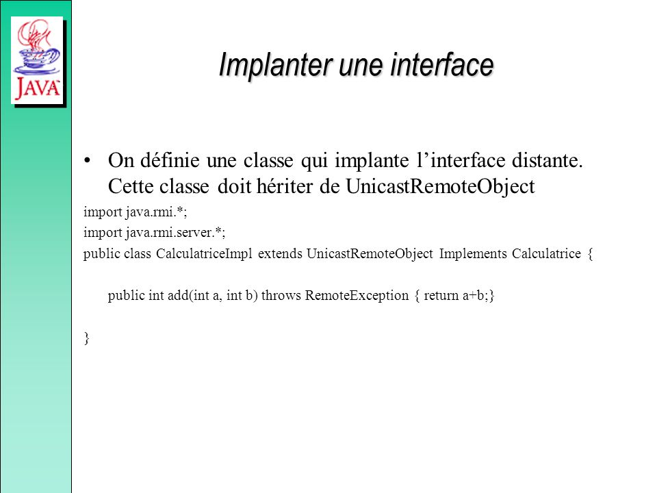 Implanter une interface