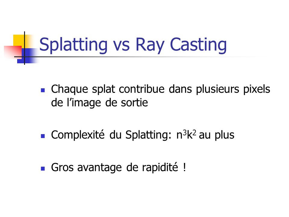 Splatting vs Ray Casting
