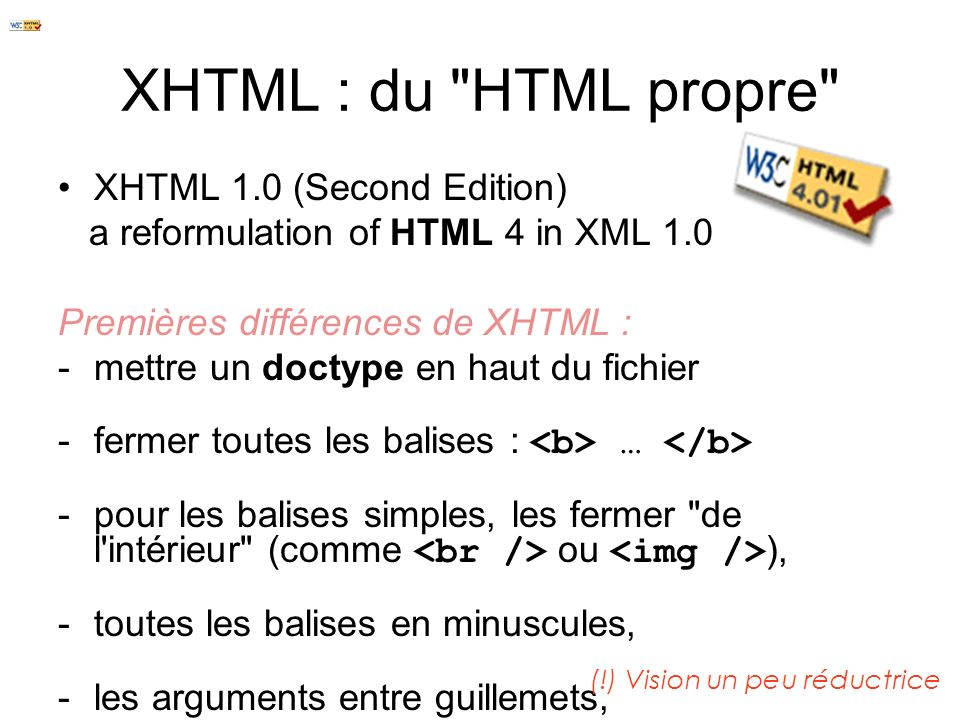 XHTML : du HTML propre XHTML 1.0 (Second Edition)