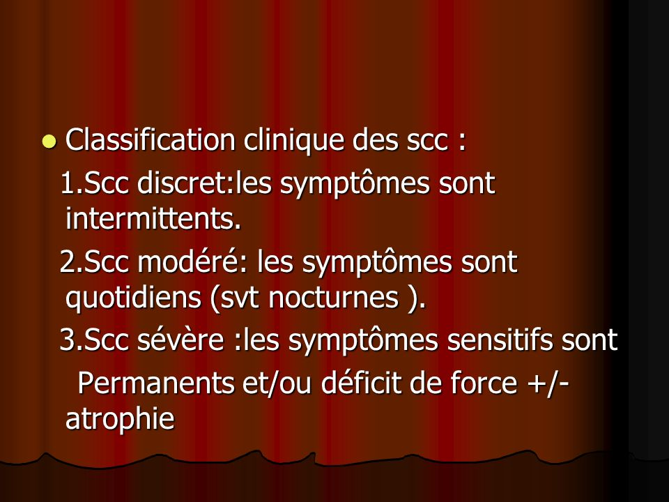 Classification clinique des scc :