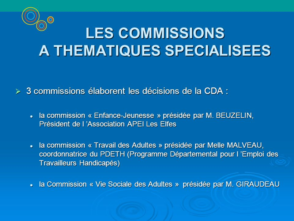 LES COMMISSIONS A THEMATIQUES SPECIALISEES