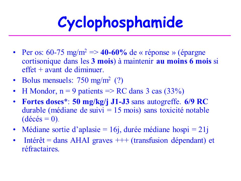 Cyclophosphamide * Blood 2002; 100:704-6