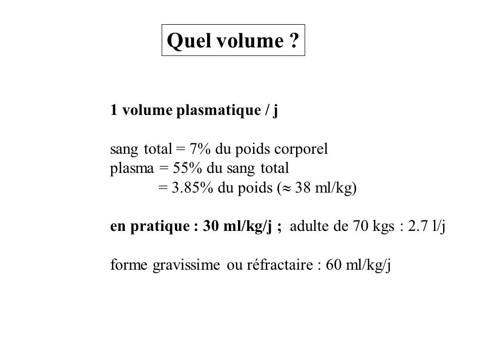 Quel volume 1 volume plasmatique / j