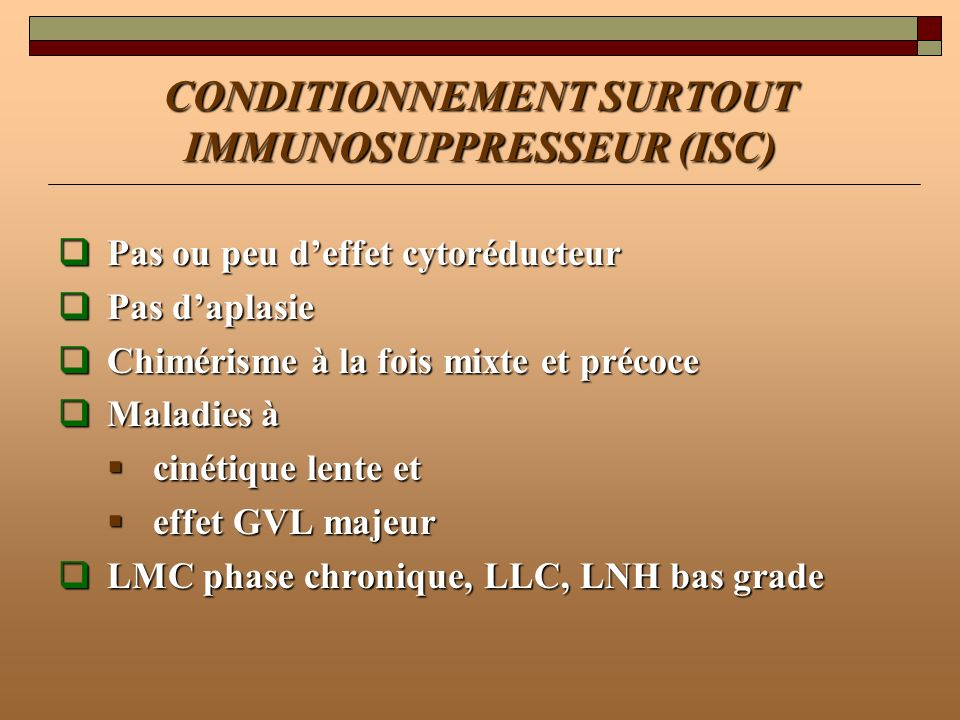 CONDITIONNEMENT SURTOUT IMMUNOSUPPRESSEUR (ISC)