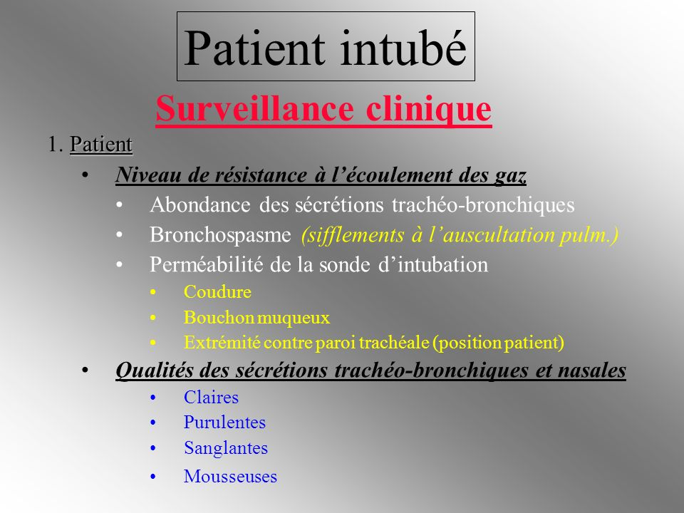 Patient intubé Surveillance clinique 1. Patient