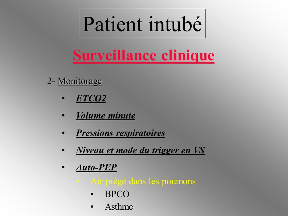 Patient intubé Surveillance clinique 2- Monitorage ETCO2 Volume minute