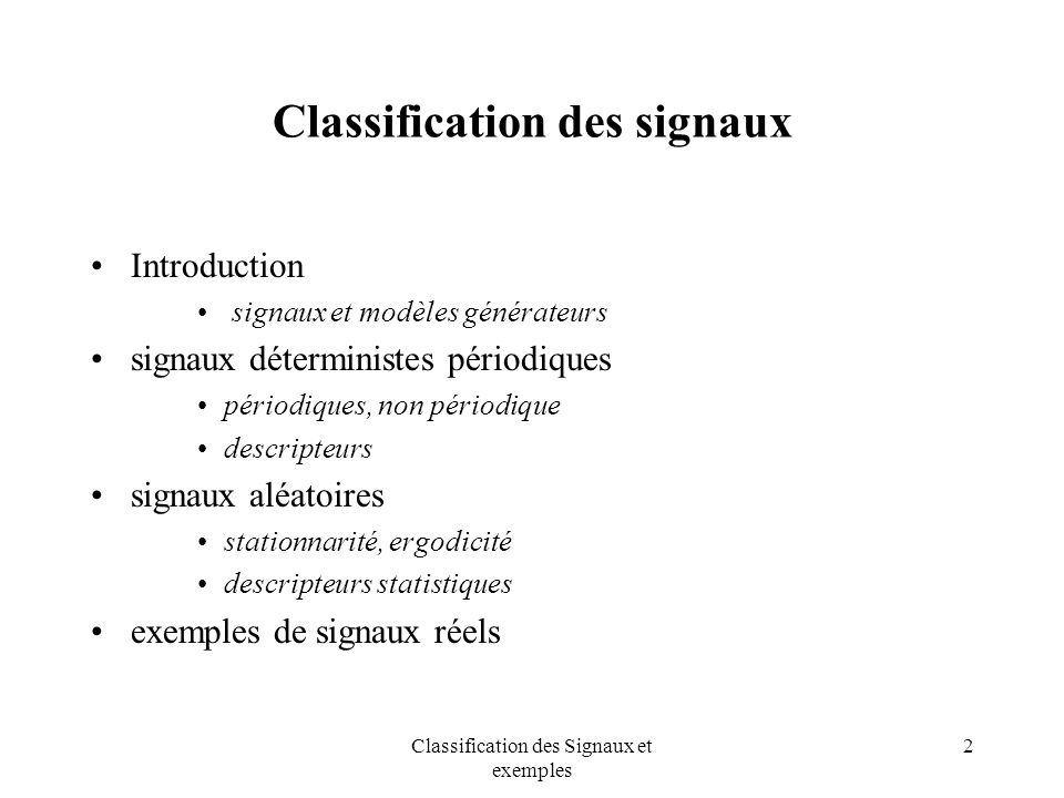 Classification des signaux