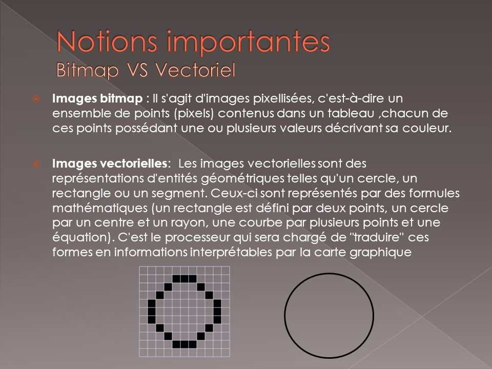 Notions importantes Bitmap VS Vectoriel