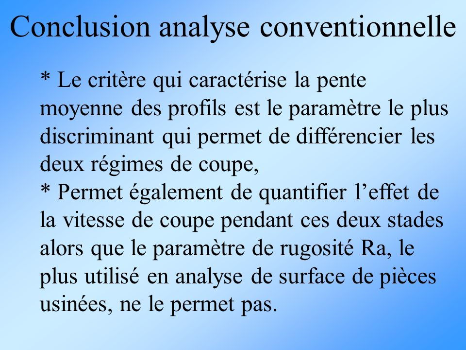 Conclusion analyse conventionnelle