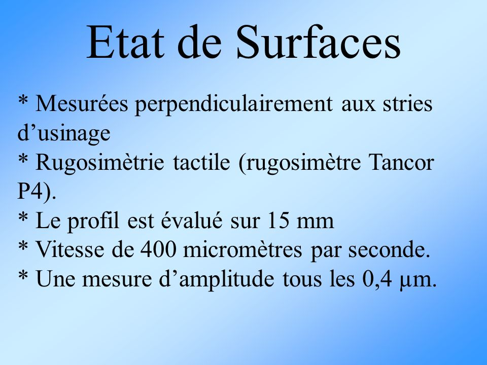 Etat de Surfaces * Mesurées perpendiculairement aux stries d'usinage