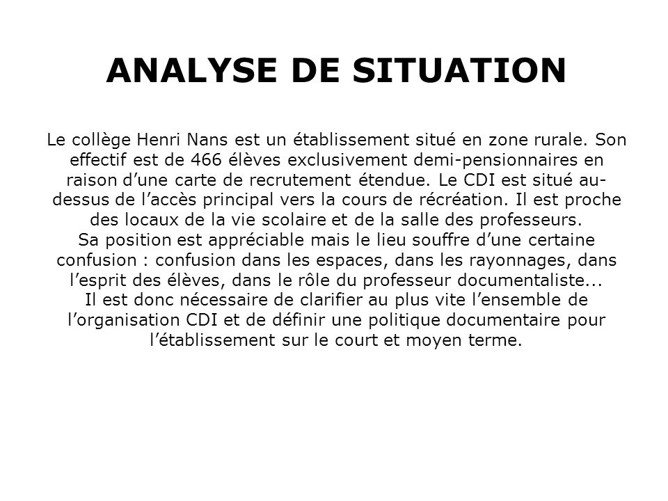 ANALYSE DE SITUATION