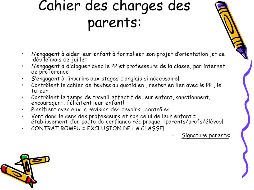 Cahier des charges des parents:
