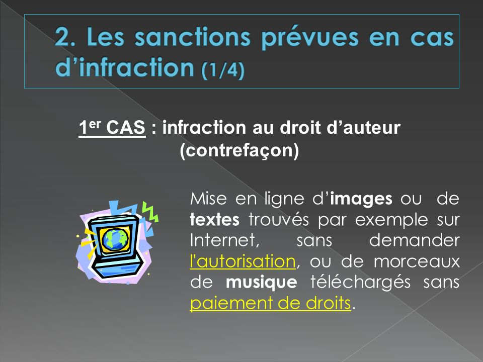 2. Les sanctions prévues en cas d'infraction (1/4)