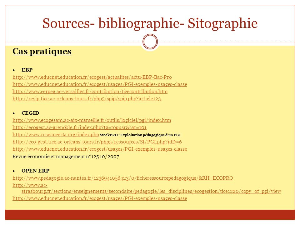 Sources- bibliographie- Sitographie