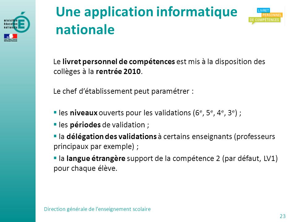Une application informatique nationale