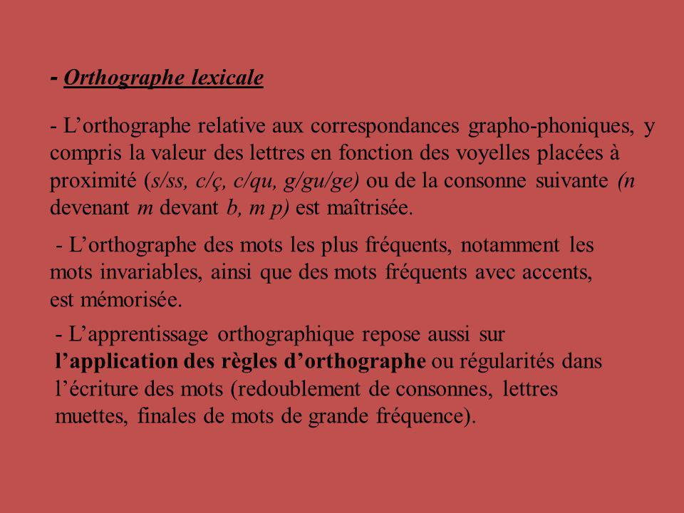 - Orthographe lexicale