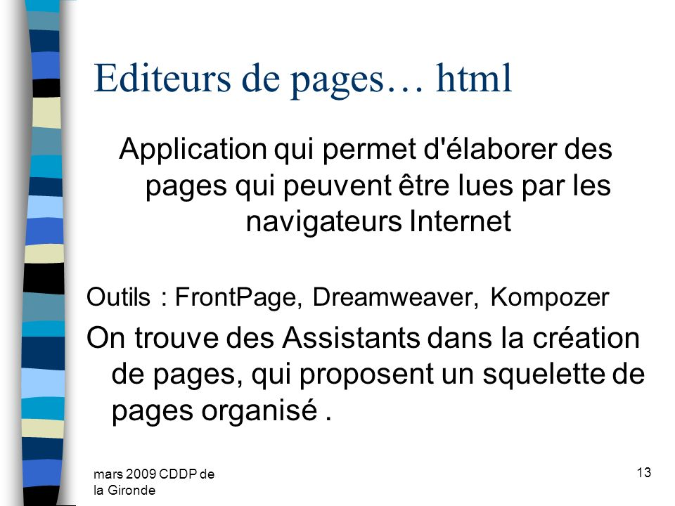 Editeurs de pages… html