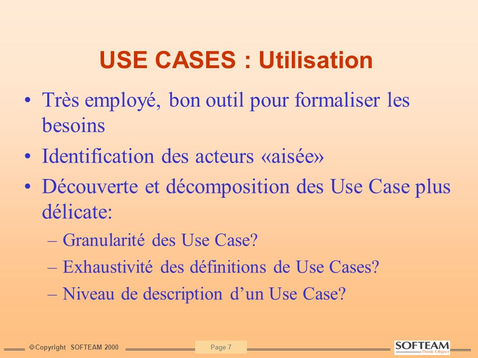 USE CASES : Utilisation