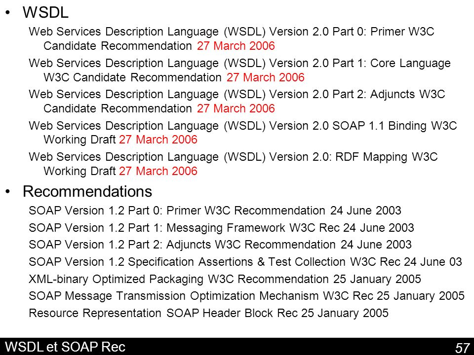 WSDL Recommendations WSDL et SOAP Rec
