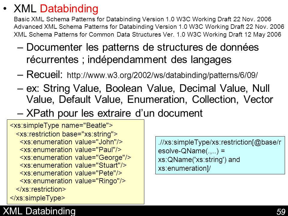 XML Databinding Basic XML Schema Patterns for Databinding Version 1