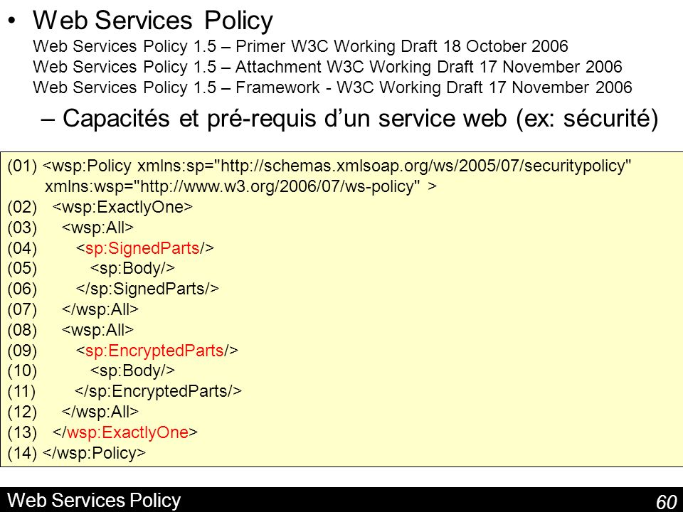 Web Services Policy Web Services Policy 1