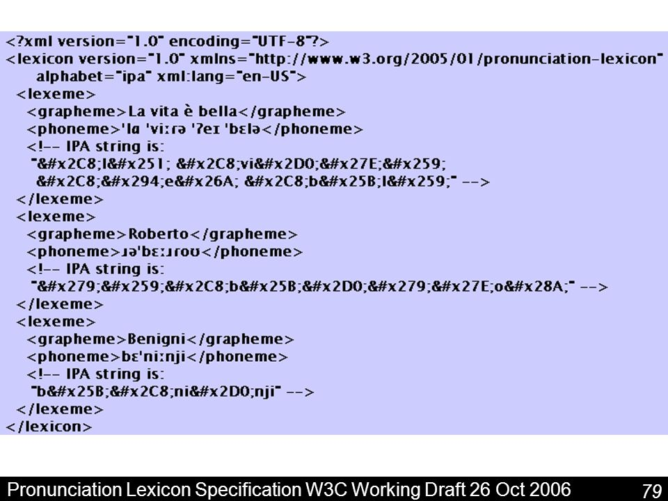 Pronunciation Lexicon Specification W3C Working Draft 26 Oct 2006