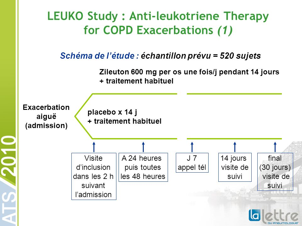 LEUKO Study : Anti-leukotriene Therapy for COPD Exacerbations (1)