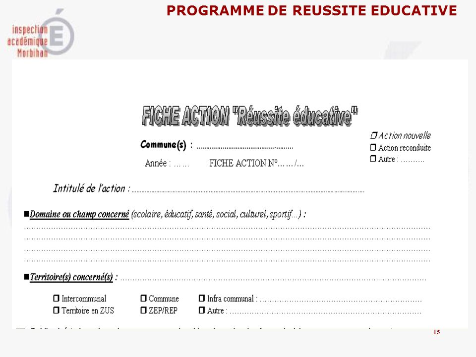 PROGRAMME DE REUSSITE EDUCATIVE