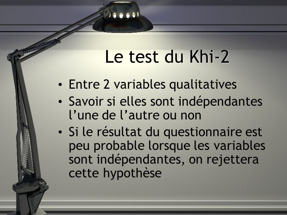 Le test du Khi-2 Entre 2 variables qualitatives